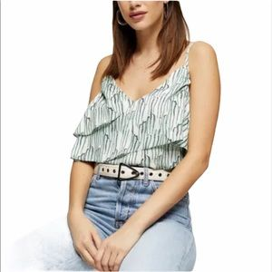 TOPSHOP Idol Tiered Ruffle Camisole Size 10 NWT